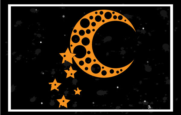 Free Moon and Stars Vector Background