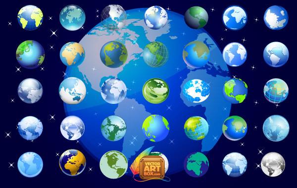 Free Earth Globe Icons Set