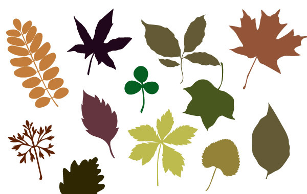 Free 20 Leave vector silhouettes