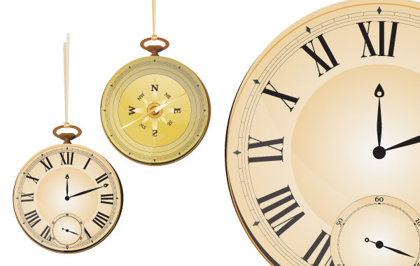 Free Vintage vector pocket watch & compass