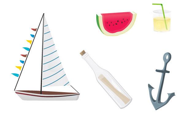 Free Vectors: Summer stuff | Pink Moustache