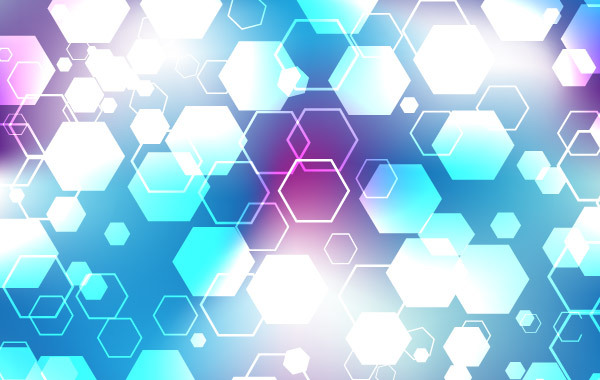 Blue and purple hexagonal vector