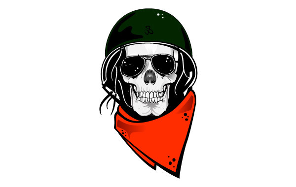 Free Skull With Military Helmet Vector