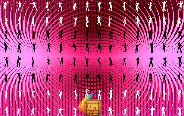 Free Vectors: DANCING GIRLS SILHOUETTES | vectorartbox