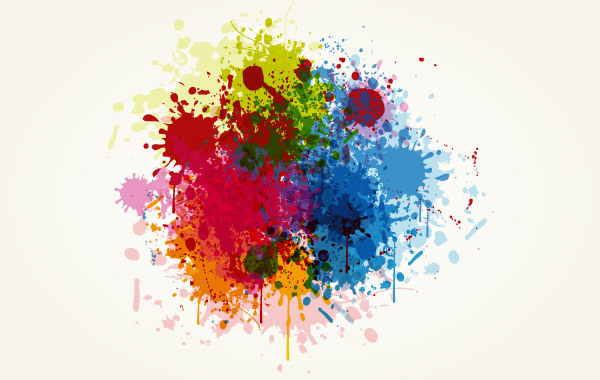 Free Grunge Colorful Splashing Vector Illustration