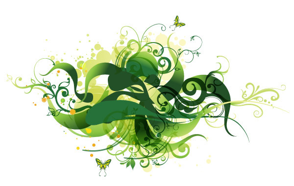 Free Green Swirl Floral Vector Illustration