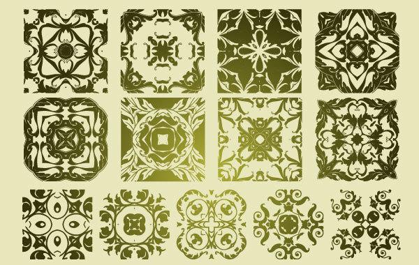 Free 13 Antique Floristic Vector Patterns