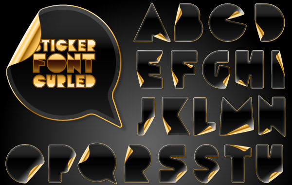 Free Black Letter and Number Stickers With Gold Back
