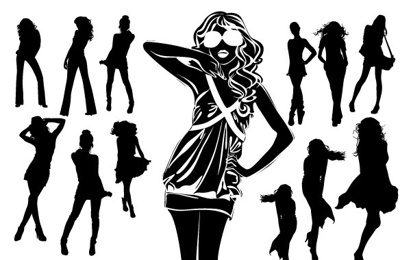 Free Silhouettes of Beautiful Women in Vector Format