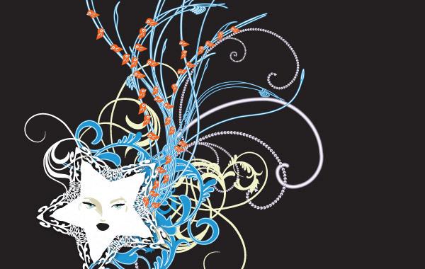 Free Swirly Curls 6 Neon Star