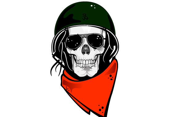 Free Skull In Military Helmet Vector