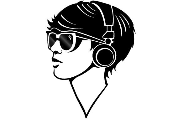 Free Girl With Headphones Vector