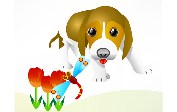 Free Free Vector Dog and insect