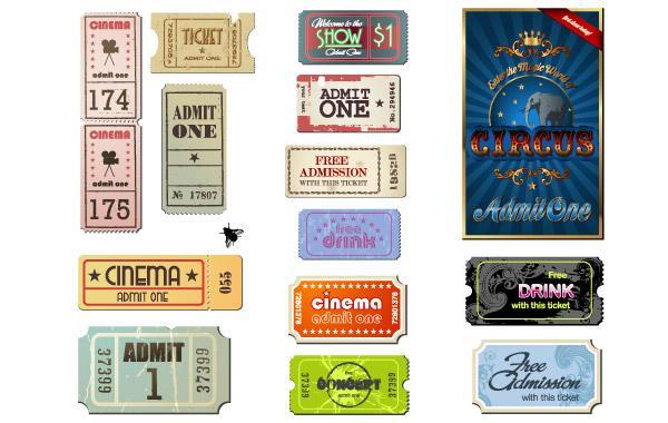 Free Vintage Movie Ticket Vector Set