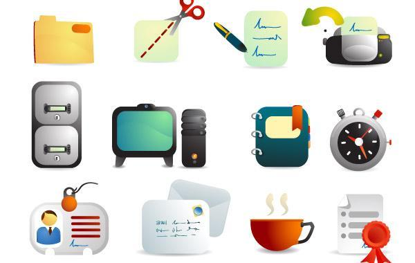 Free Vectors: Cute Office Supplies Vector Icons  | webdesignhot
