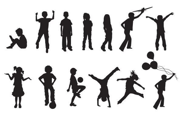 Free Free Vector Children Silhouettes