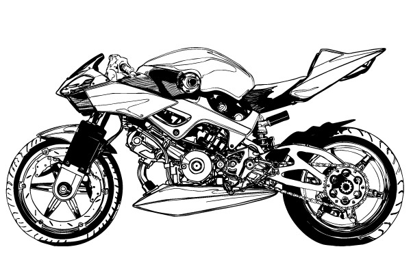 Free Black and white Motorcycle vector