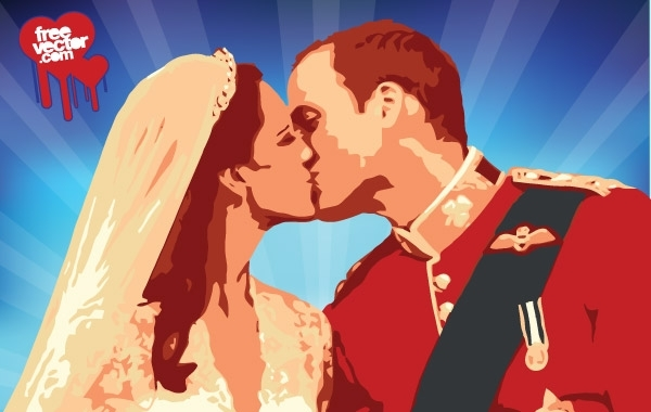 Free William Kate Kiss Vector