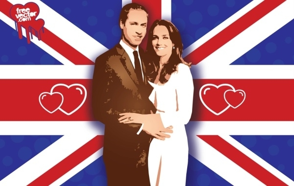 Free William Kate Wedding Vector