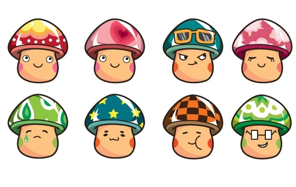 Free Cartoon Mushrooms Vector Set