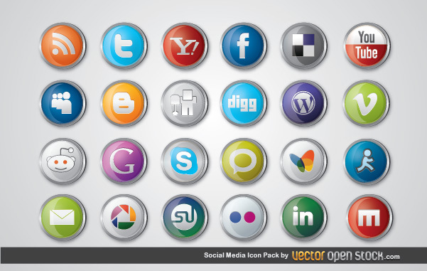 Free Vectors: Social Media Icon Pack | Vector Open Stock