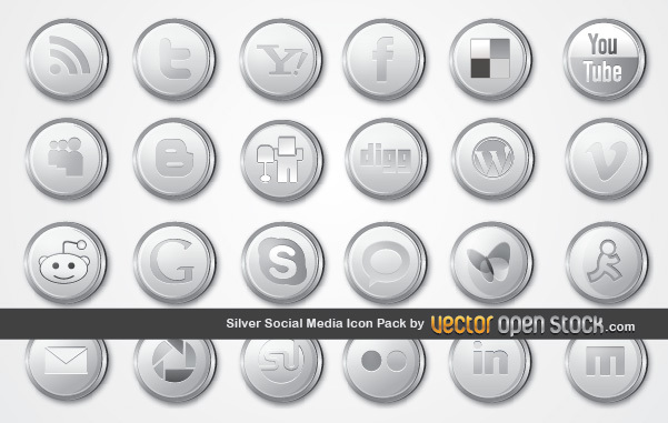 Free Vectors: Silver Social Media Icon Pack | Vector Open Stock