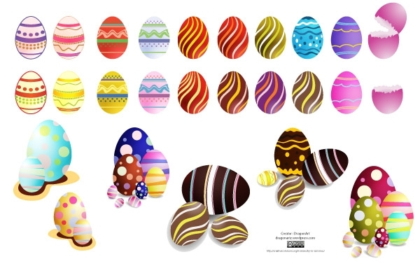 Free Easter Eggs Set2 Vector