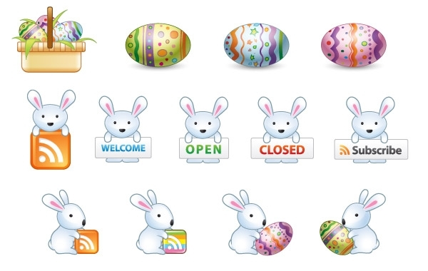 Free Vectors: Free Easter Bunny Vector Icons  | webdesignhot
