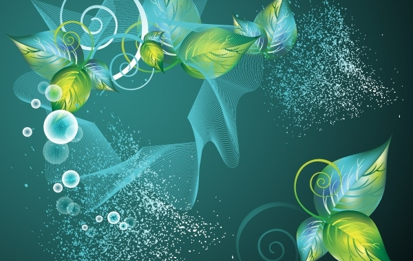 Free Abstract Green Swirl Floral Vector Background