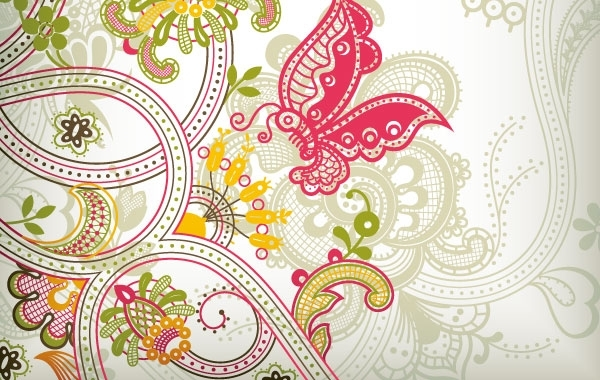Free Vintage Flower Pattern Background Vector Art