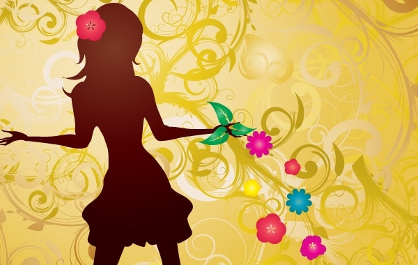 Free Girl with Flowers Vector illustration
