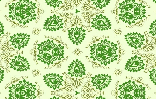 Free Vector Green Seamless Floral Ornament