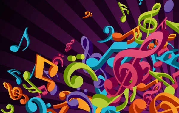 Free 3D Colorful Music Vector Background