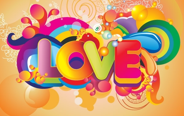 Free Colorful Love Background Vector Art