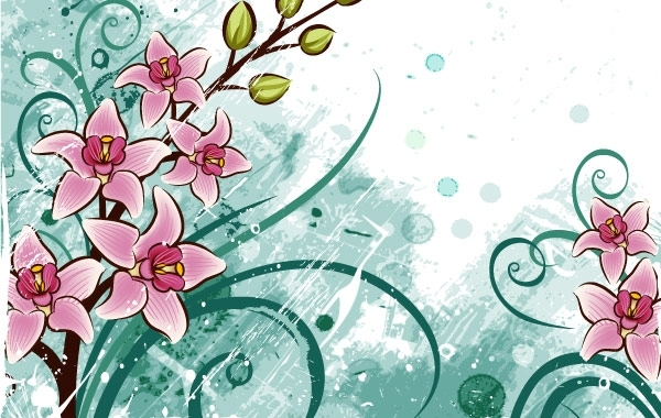 Free Vectors: Lily flowers with grunge floral background | webdesignhot