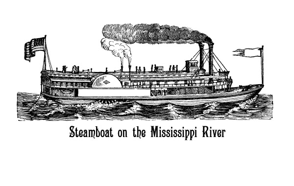 Free Vectors: Steamboat On The Mississippi River | vintagevectors