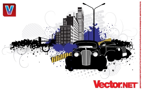 Free City Street Vector Art with Vintage Cars