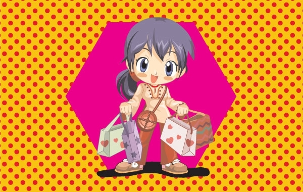 Free Anime Shopping Girl Vector