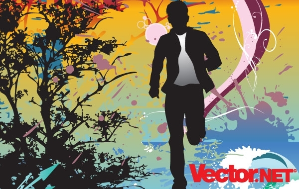 Free Vectors: Running Action Man Silhouette Vector Illustration | vector.net