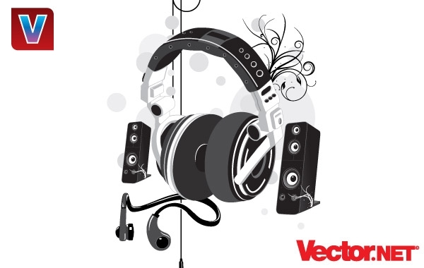 Free Vectors: Music Headphone & Speakers | vector.net