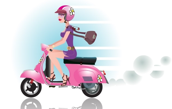 Free Vectors: Scooter posh girl | Bazaar Designs