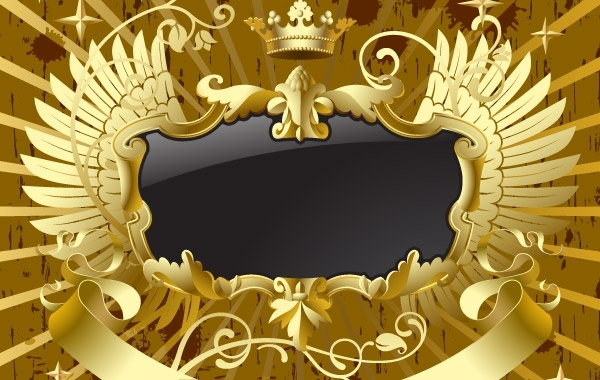 Free  Gold-black banner with wings