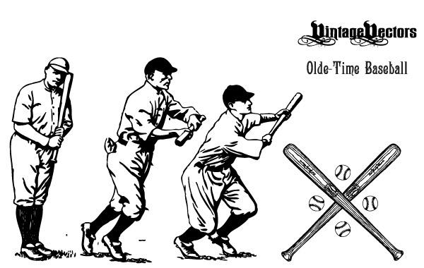 Free Vectors: Olde-Time Baseball Vectors | vintagevectors