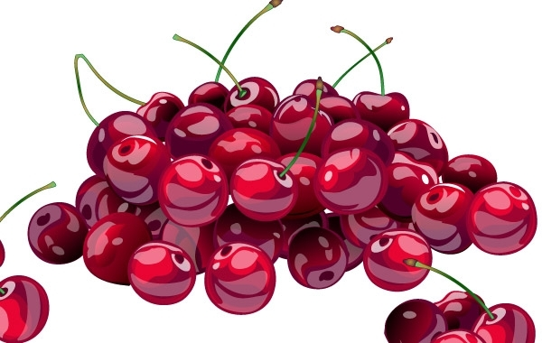 Free Hill of juicy fresh cherries