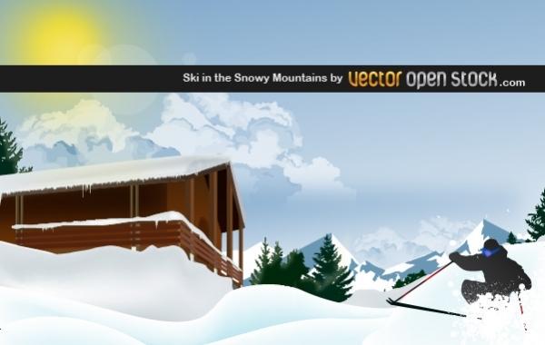 Free Ski in the Snowy Mountain