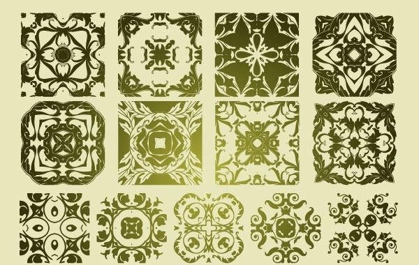 Free 16 Antique Floristic Vector Patterns