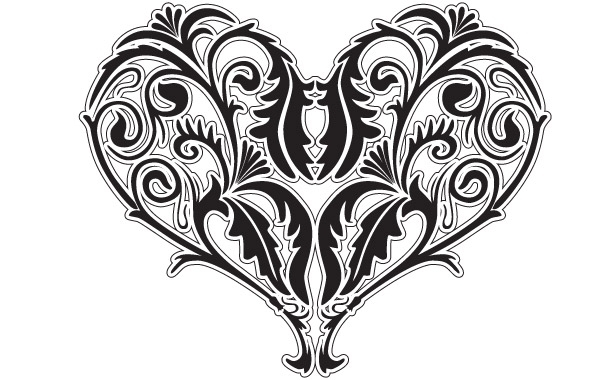 Free Valentines Vector Heart black