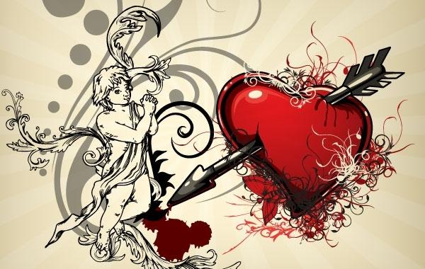 Free Vectors: Vintage Heart Backgrounds 4 | oneter
