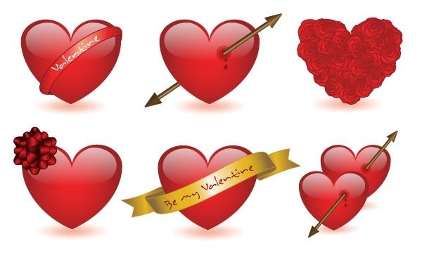 Free 6 Valentine's hearts