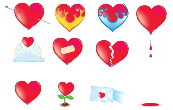 Free Vector icon Valentine Hearts